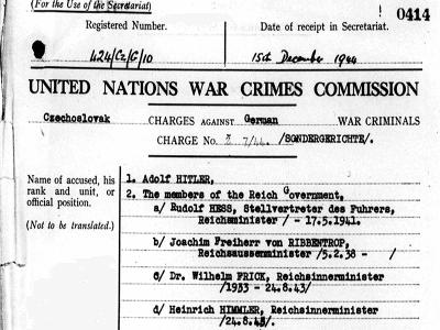 UN War Crimes Commission Charge Sheet